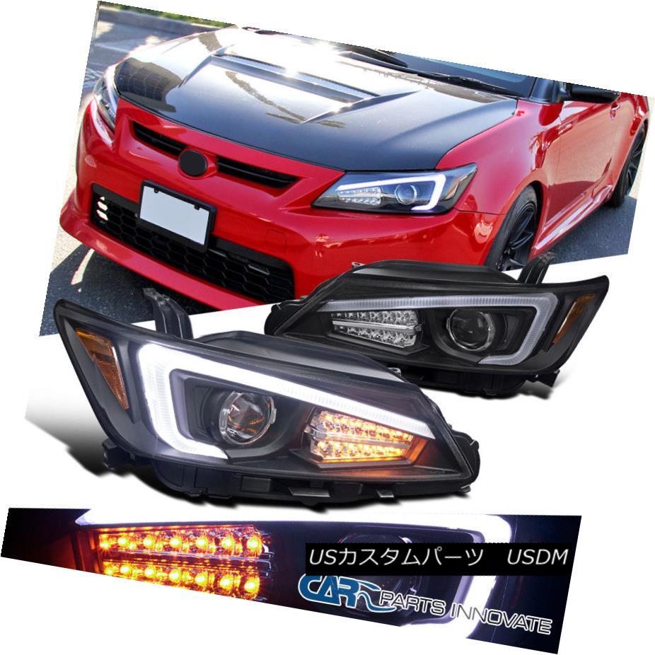 ヘッドライト 2011-2013 Scion tC Black Projector Headlights+LED Signal+LED Strip 2011-2013シオンtCブラックプロジェクターヘッドライト+ LED信号+ LEDストリップ