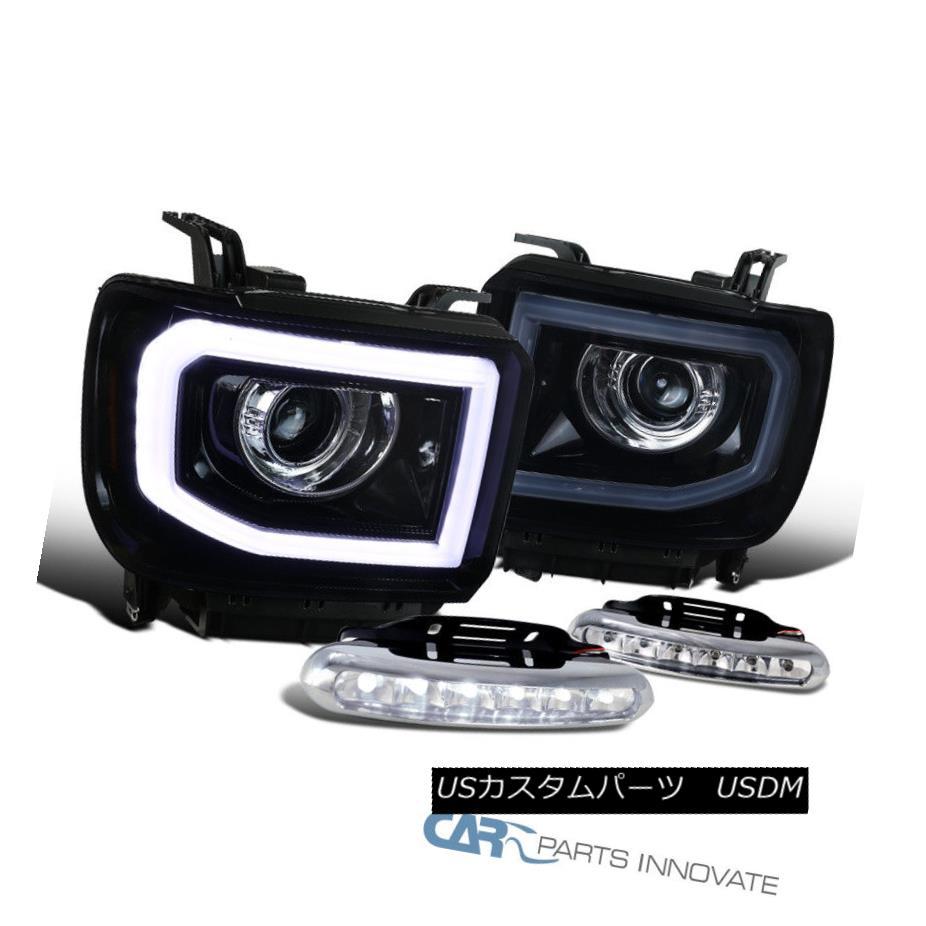 ヘッドライト GMC 14-16 Sierra LED DRL+Signal Glossy Black Projector Headlights+Clear LED Fog GMC 14-16 Sierra LED DRL +信号光沢のある黒プロジェクターヘッドライト+ Cle  ar LED Fog