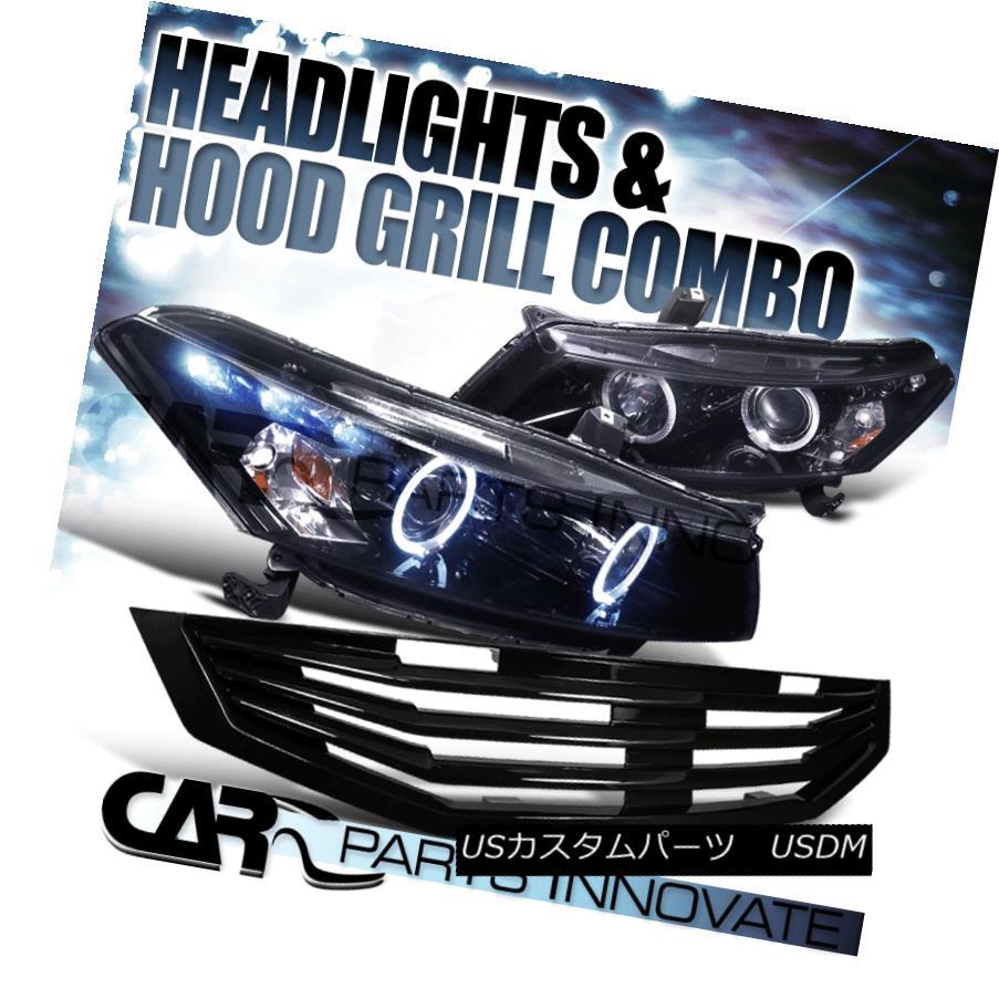 ヘッドライト Fit 2008-2010 Honda Accord 2Dr Glossy Black Projector Headlights Mu Hood Grille フィット2008-2010ホンダアコード2r光沢ブラックプロジェクターヘッドライト