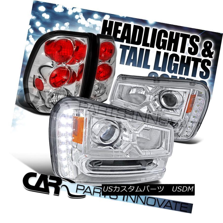 ヘッドライト 02-09 Chevy Trailblazer SMD LED DRL Strip Chrome Projector Headlights+Tail Lamp 02-09 Chevy Trailblazer SMD LED DRLストリップクロームプロジェクターヘッドライト+タイ lランプ