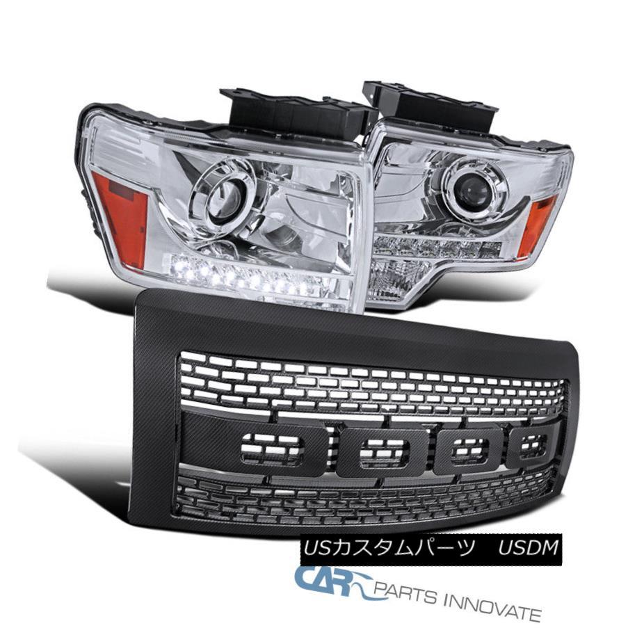 ヘッドライト 09-14 Ford F150 Clear LED DRL Projector Headlights+Raptor Style ABS Hood Grille 09-14 Ford F150クリアLED DRLプロジェクターヘッドライト+ラップ tor Styleフードグリル