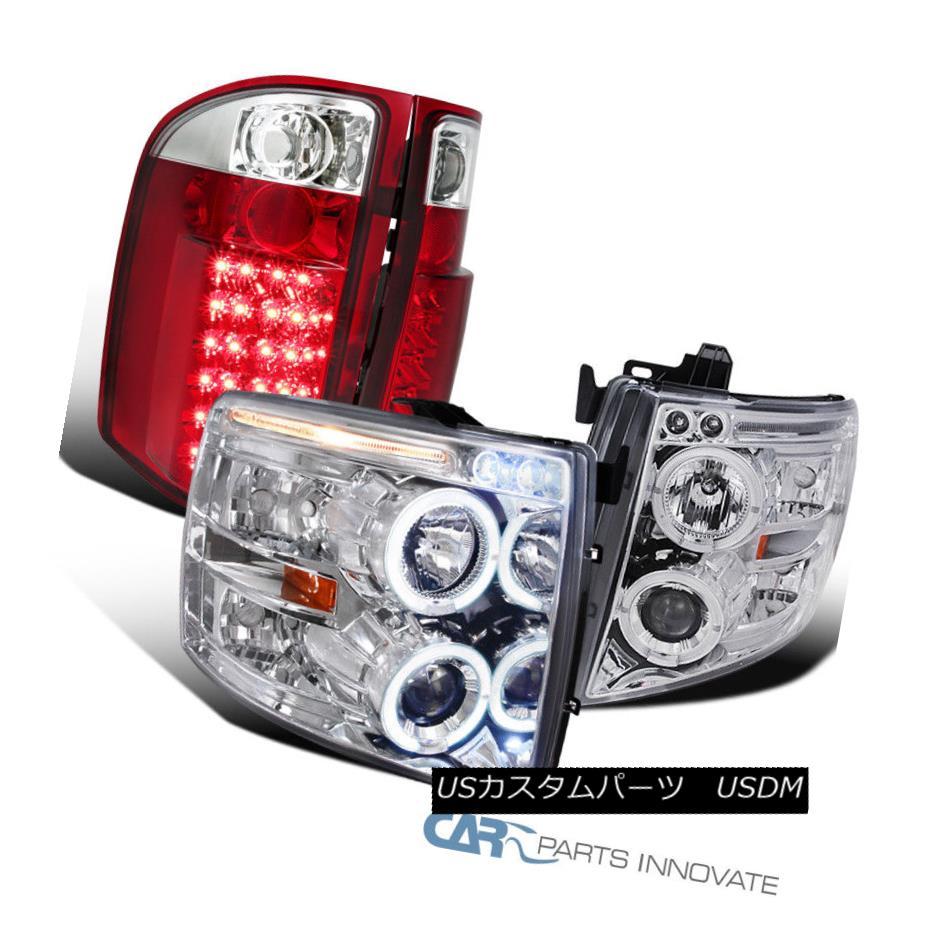 ヘッドライト Chevy 07-14 Silverado Clear Halo Projector Headlights+Red/Clear LED Tail Lamps シボレー07-14シルバラードクリアハロープロジェクターヘッドライト+レッド /クリアLEDテールランプ
