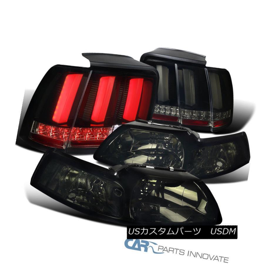 ヘッドライト 99-04 Ford Mustang Smoke Headlights+Glossy Black Seqential LED Tail Brake Lamps 99-04 Ford Mustangスモークヘッドライト+グロー ssyブラックシーケンシャルLEDテールブレーキランプ
