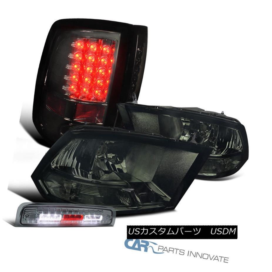 ヘッドライト Dodge 2009-2013 Ram Smoke Headlights+LED 3rd Brake+Glossy Black LED Tail Lamps Dodge 2009-2013 Ram Smokeヘッドライト+ LED第3ブレーキ+光沢のある黒色LEDテールランプ