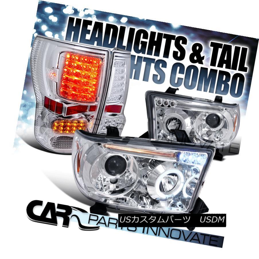 ヘッドライト For 07-13 Toyota Tundra Clear Halo LED Projector Headlights+LED Tail Brake Lamps 07-13 Toyota Tundra Clear Halo LEDプロジェクターヘッドライト+ LEDテールブレーキランプ