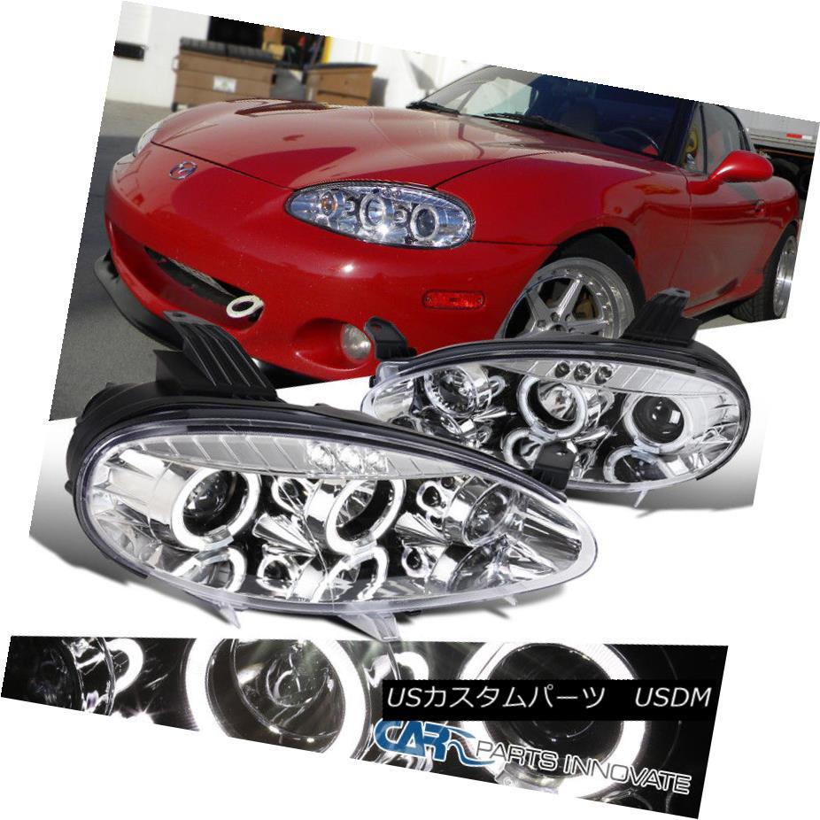 ヘッドライト 01-05 Mazda Miata MX5 Replacement Clear LED Halo Projector Headlights Left+Right 01-05マツダMiata MX5交換用クリアLEDハロープロジェクターヘッドライト左+右