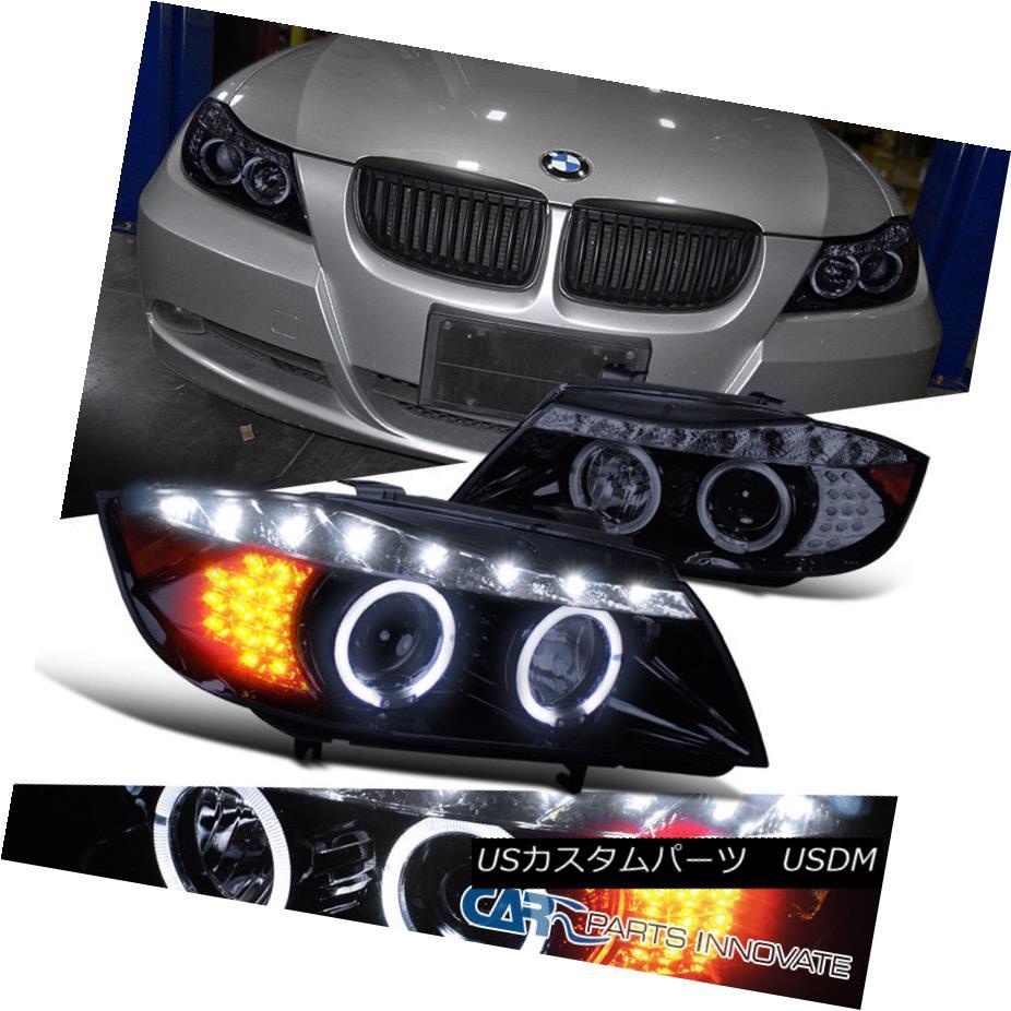 ヘッドライト Glossy Black 06-08 BMW E90 3-Series LED Signal Halo Projector Headlights Pair 光沢ブラック06-08 BMW E90 3シリーズLED信号ハロープロジェクターヘッドライトペア