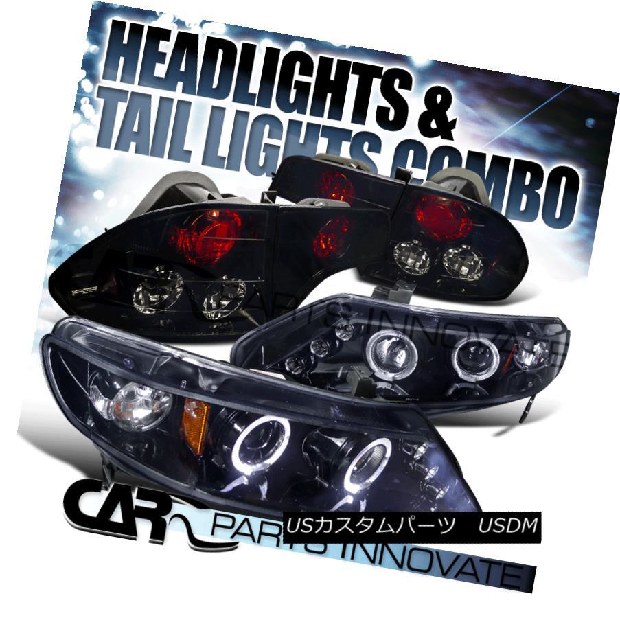 ヘッドライト Glossy Black Fit 06-11 Civic 4Dr Halo LED Projector Headlights+Smoke Tail Lamps Glossy Black Fit 06-11シビック4Dr Halo LEDプロジェクターヘッドライト+ Smo  keテールランプ