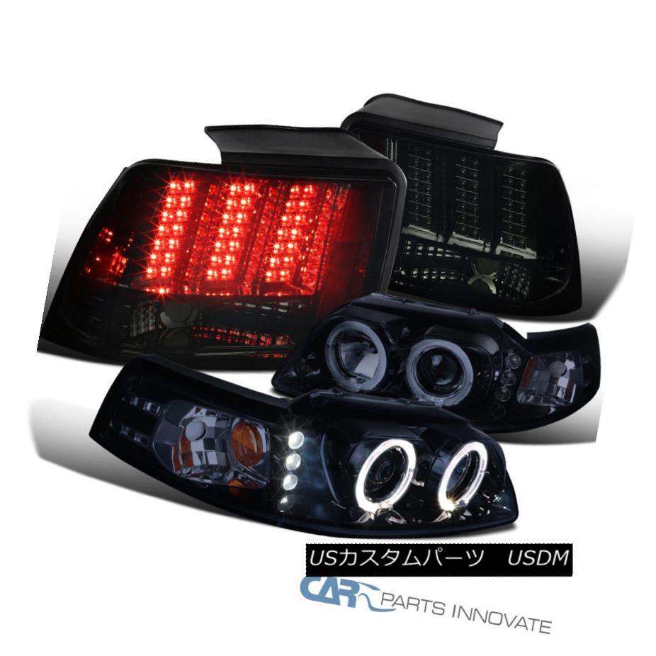 ヘッドライト 99-04 Mustang Glossy Black Projector Headlights+Smoke LED Sequential Tail Lights 99-04 Mustang Glossyブラックプロジェクターヘッドライト+スモーク ke LEDテールライト