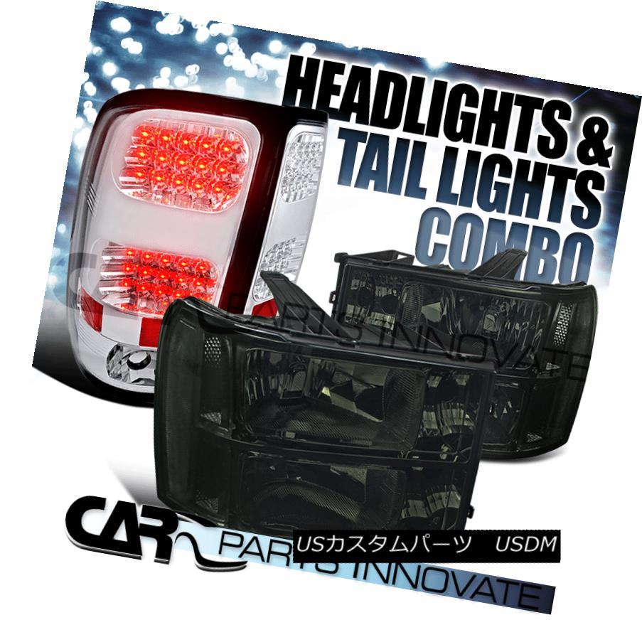 ヘッドライト 07-13 GMC Sierra Clear Smoke Replacement Headlights+Clear LED Tail Lamp 07-13 GMC Sierraクリアスモーク交換ヘッドライト+ Cle  ar LEDテールランプ