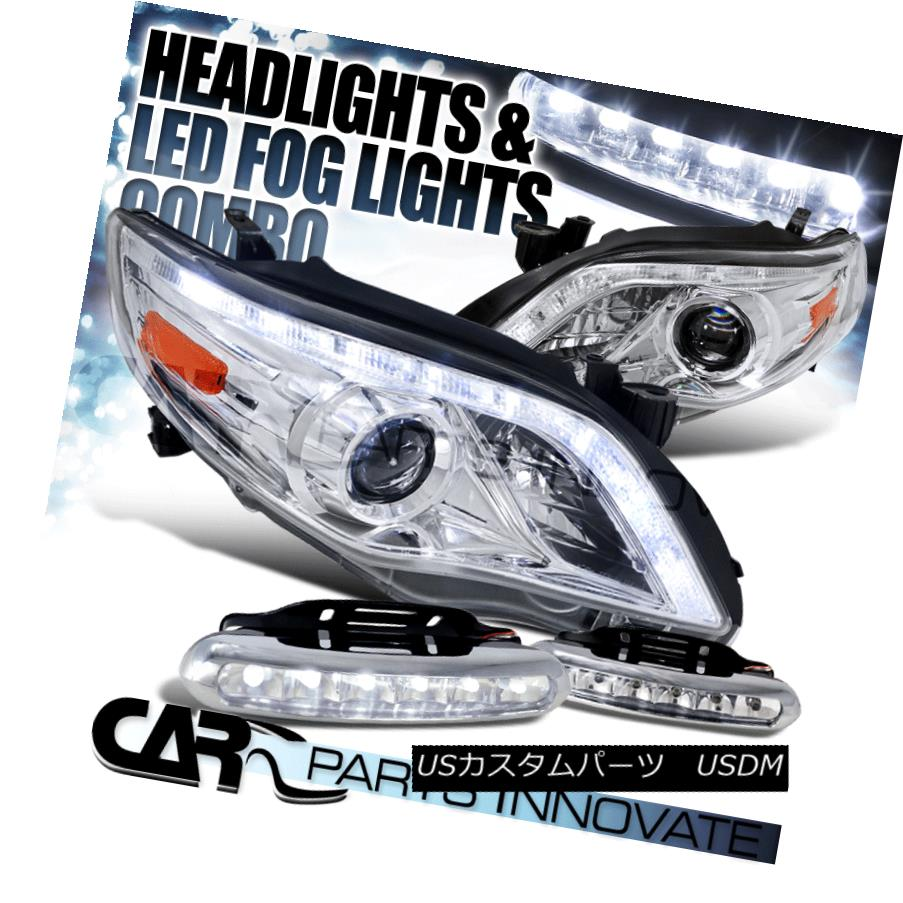 ヘッドライト For 11-13 Toyota Corolla Clear LED DRL Projector Headlights+LED Fog Bumper DRL 11-13トヨタカローラクリアLED DRLプロジェクターヘッドライト+ LEDフォグバンパーDRL