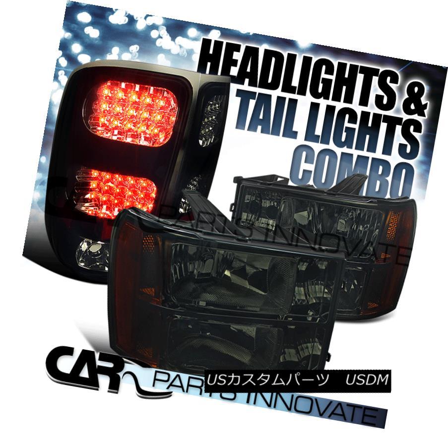 ヘッドライト 07-13 GMC Sierra Amber Smoke Replacement Headlights+Glossy Black LED Tail Lamp 07-13 GMC Sierraアンバー煙の交換ヘッドライト+グロー ssyブラックLEDテールランプ