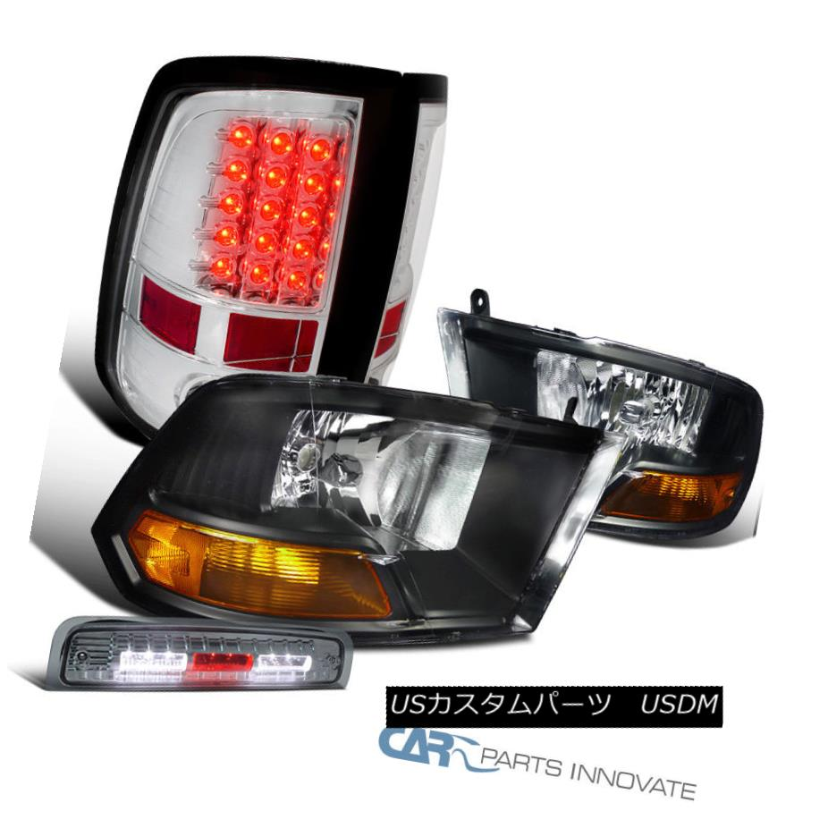 ヘッドライト 09-13 Dodge Ram Black Headlights+Clear LED Tail Lights+Smoke LED 3rd Brake Lamp 09-13 Dodge Ramブラックヘッドライト+ Cle  ar LEDテールライト+ Smoke LED第3ブレーキランプ