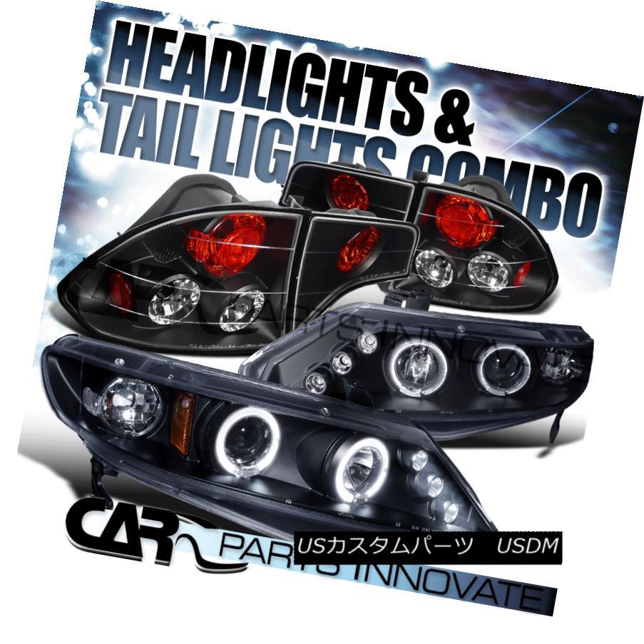 ヘッドライト Fit 2006-2011 Honda Civic 4Dr Black Halo LED Projector Headlights+Tail Lamps フィット2006-2011ホンダシビック4DrブラックハローLEDプロジェクターヘッドライト+タイ lランプ