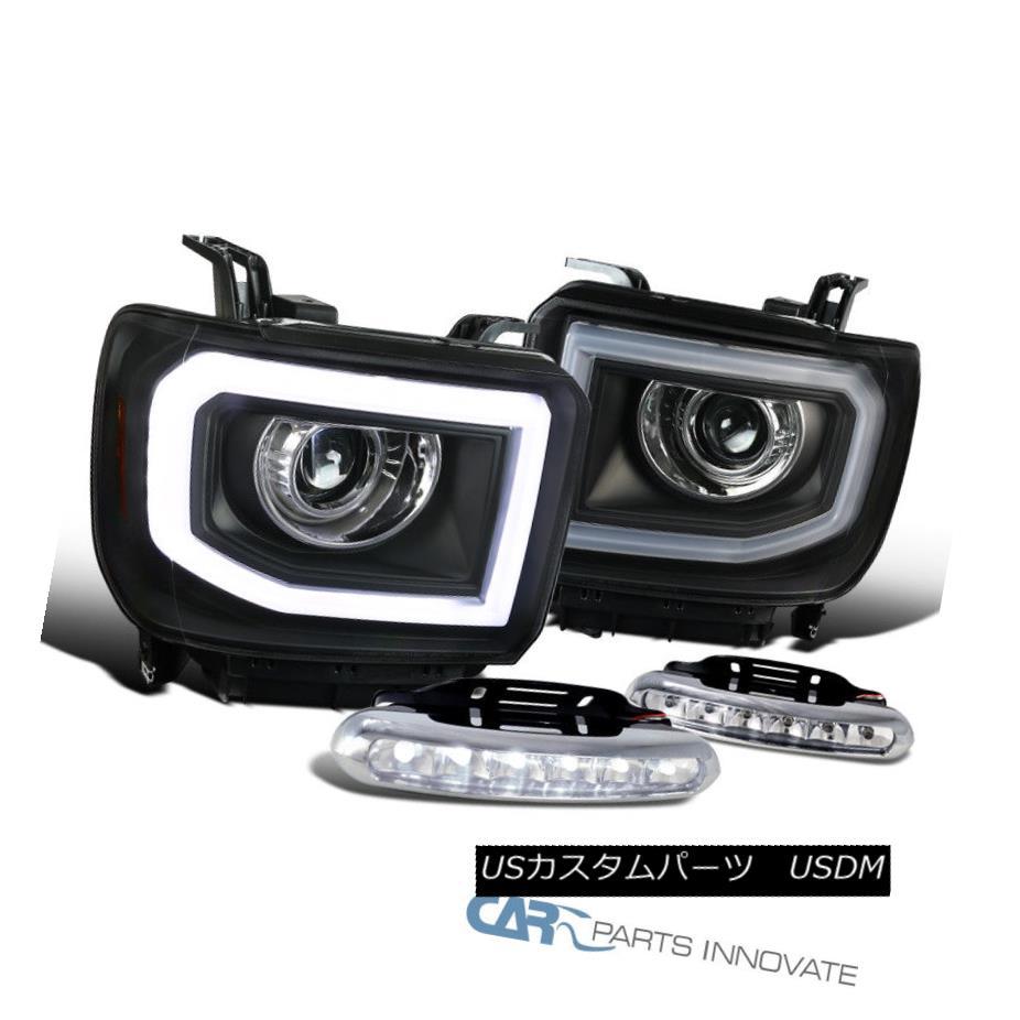 ヘッドライト 14-16 Sierra LED DRL+Signal Strip Black Projector Headlights+Clear LED Fog Lamps 14-16 Sierra LED DRL +信号ストリップ黒プロジェクターヘッドライト+ Cle  ar LEDフォグランプ