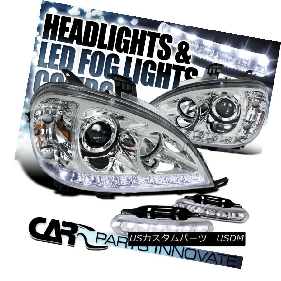ヘッドライト 98-01 Benz W163 ML320 ML430 ML55 AMG Chrome Projector Headlights+LED Fog DRL 98-01ベンツW163 ML320 ML430 ML55 AMGクロームプロジェクターヘッドライト+ LEDフォグDRL