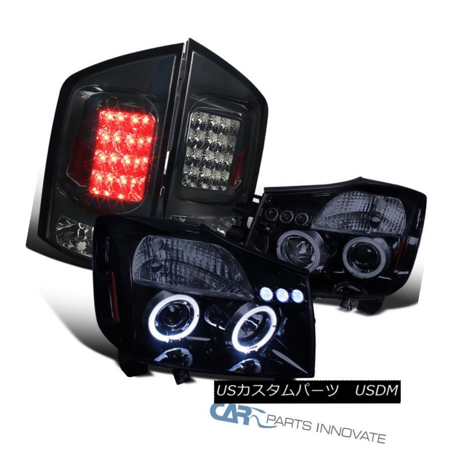 ヘッドライト For 05-07 Nissan Armada Glossy Black Projector Headlights+Smoke LED Tail Lamps 05-07日産アルマダ光沢ブラックプロジェクターヘッドライト+スモール ke LEDテールランプ