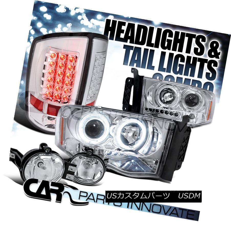 ヘッドライト Chrome Dodge 02-05 Ram 1500 Halo Projector Headlights+Fog Lamps+LED Tail Lights Chrome Dodge 02-05 Ram 1500ハロープロジェクターヘッドライト+フォグランプ+ LEDテールライト