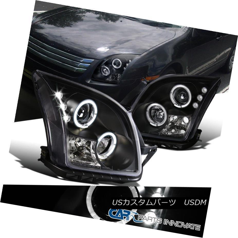 ヘッドライト Ford 06-09 Fusion LED Dual Halo Black Projector Headlights Head Lamps Left+Right フォード06-09フュージョンLEDデュアルヘイローブラックプロジェクターヘッドライトヘッドランプ左+右