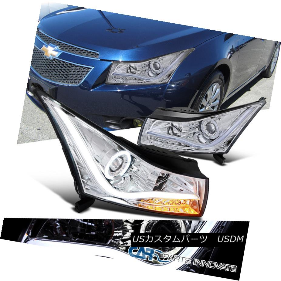 ヘッドライト 11-14 Chevy Cruze Clear LED Halo Projector Headlights+Amber LED Signal Lamps 11-14 Chevy Cruze Clear LEDハロープロジェクターヘッドライト+ Amb  er LEDシグナルランプ