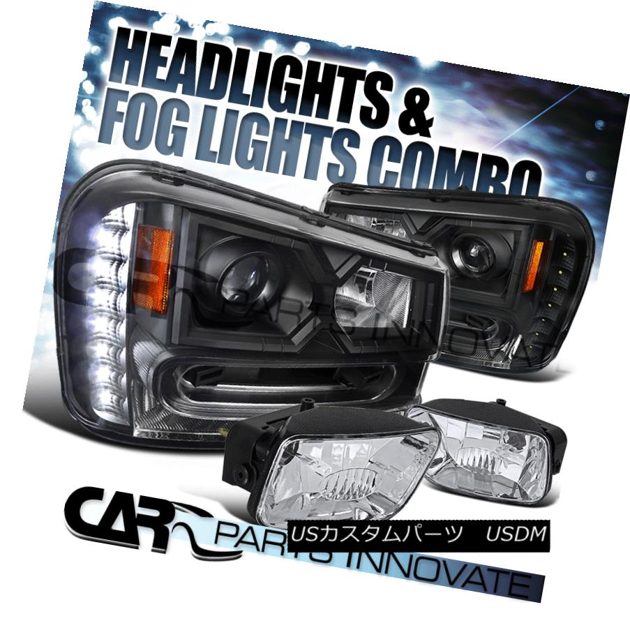 ヘッドライト 02-09 Chevy Trailblazer SMD LED DRL Black Projector Headlights+Clear Fog Lamp 02-09 Chevy Trailblazer SMD LED DRLブラックプロジェクターヘッドライト+ Cle  arフォグランプ