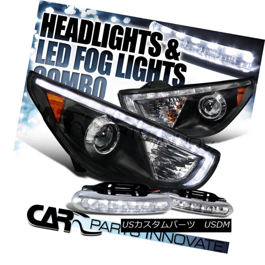 ヘッドライト Fit 10-13 Tucson Black R8 Style DRL Projector Headlights+6-LED Fog Lamps フィット10-13ツーソンブラックR8スタイルDRLプロジェクターヘッドライト+ 6-L  EDフォグランプ