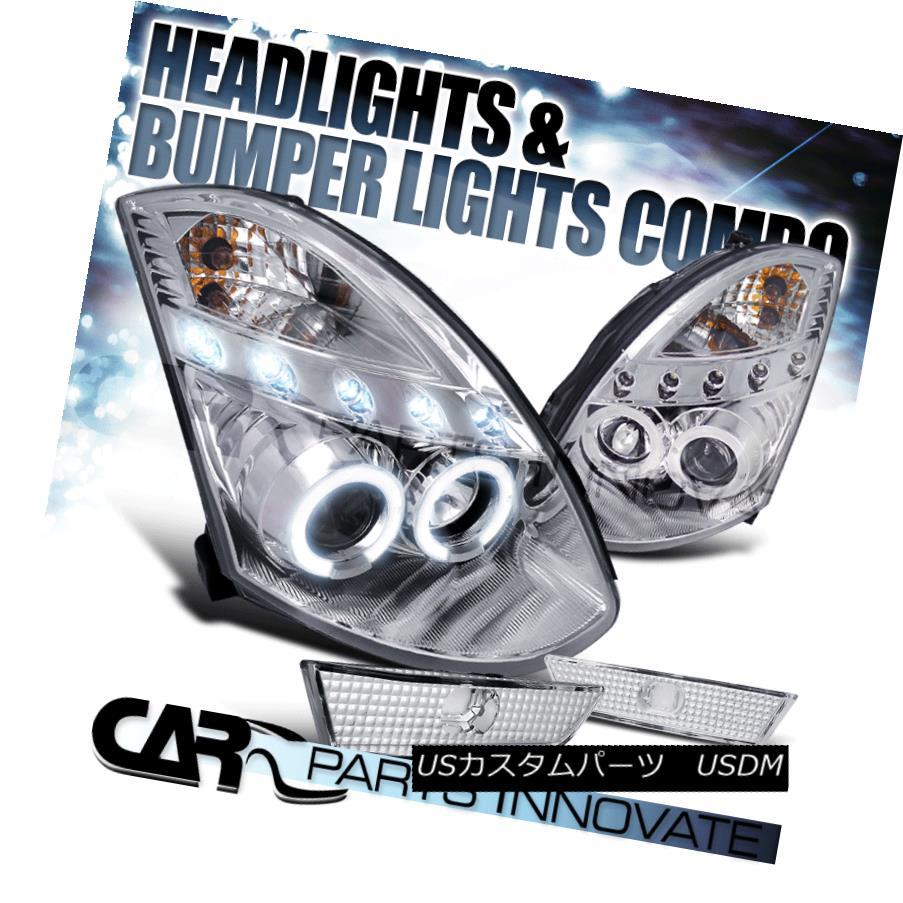 ヘッドライト Fit 03-07 G35 2Dr Coupe Chrome LED Halo Projector Headlights+Clear Bumper Lamps フィット03-07 G35 2DrクーペクロームLEDハロープロジェクターヘッドライト+クリーン arバンパーランプ