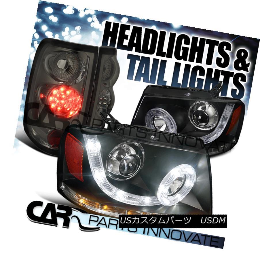 ヘッドライト 04-08 F150 Black SMD LED Signal Halo Projector Headlights+Smoke LED Tail Lights 04-08 F150ブラックSMD LED信号ハロープロジェクターヘッドライト+スモール ke LEDテールライト