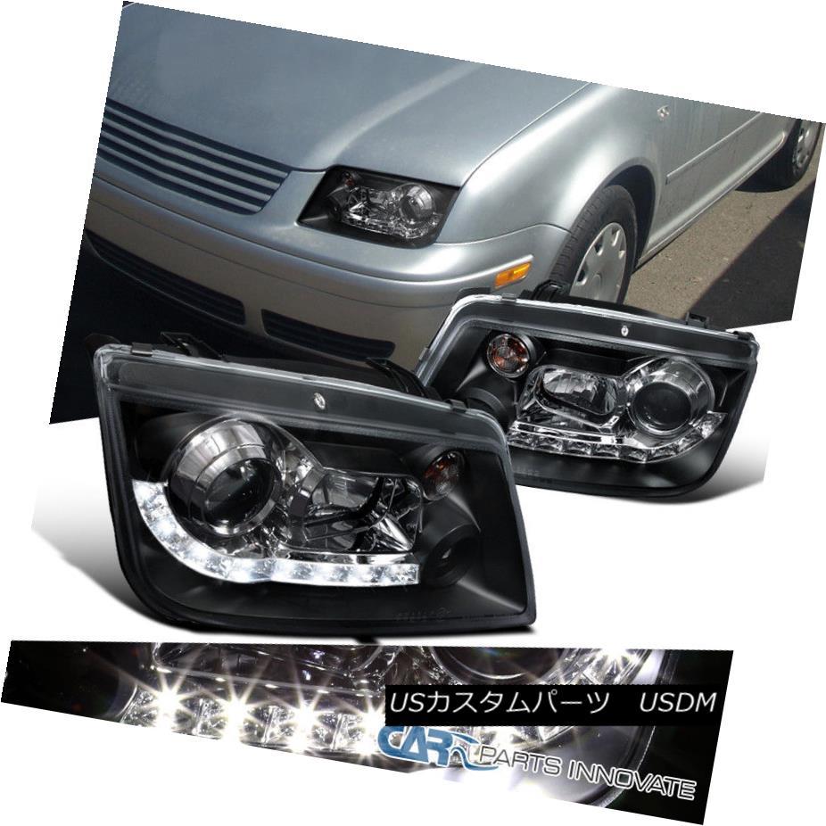 ヘッドライト For VW 99-05 Jetta Bora Mk4 LED DRL Projector Headlights Lamps Black Left+Right VW 99-05用ジェッタボラMk4 LED DRLプロジェクターヘッドライトランプブラック左+右