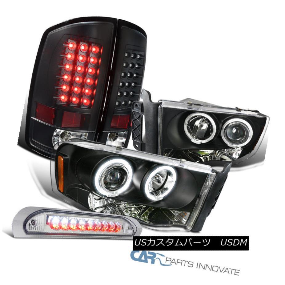ヘッドライト 02-05 Ram 1500 2500 3500 Black Projector Headlights+LED Tail+Clear 3rd Brake 02-05 Ram 1500 2500 3500黒プロジェクターヘッドライト+ LEDテール+クリア第3ブレーキ