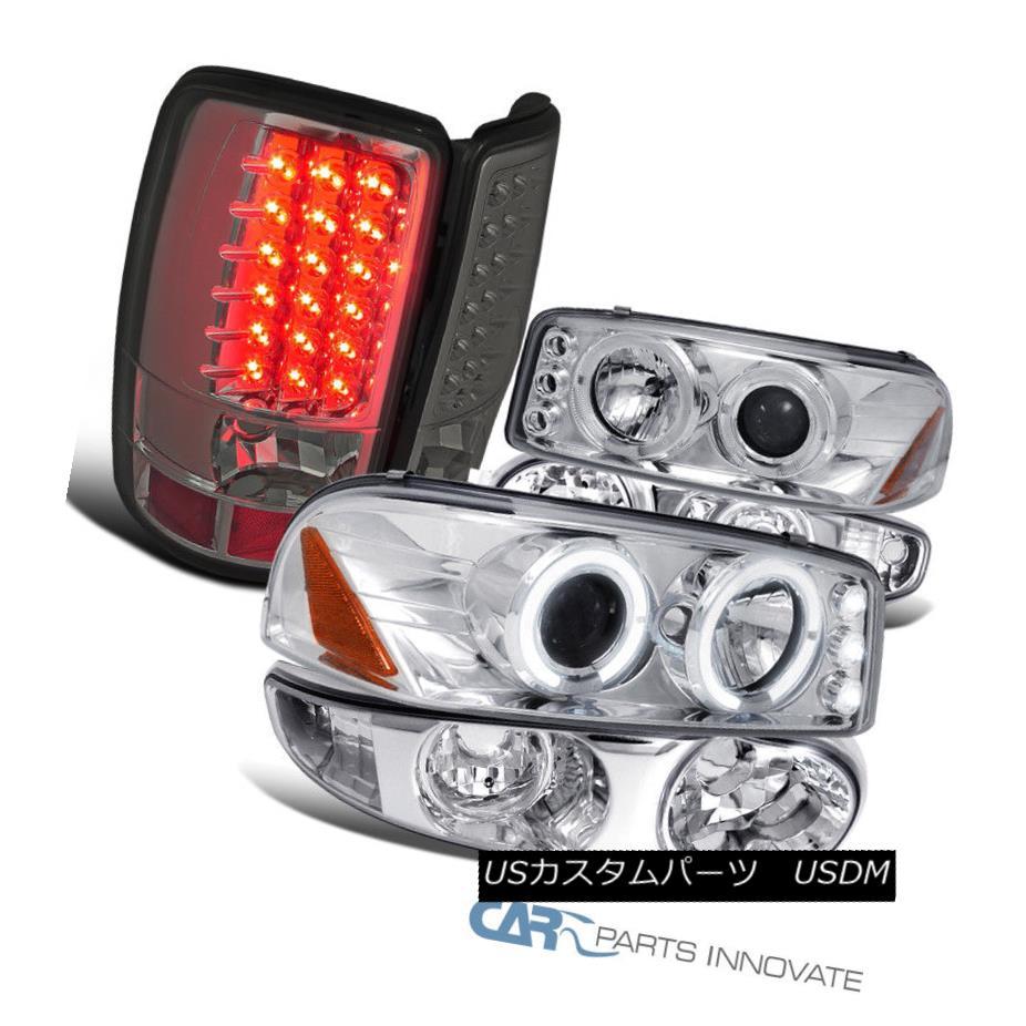 ヘッドライト 01-06 GMC Yukon Clear LED Halo Projector Headlights+Bumper+Smoke LED Tail Lamps 01-06 GMC YukonクリアLEDハロープロジェクターヘッドライト+ブーム +スモークLEDテールランプ