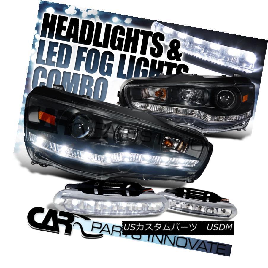 ヘッドライト 08-15 Lancer EVO X 10 Black R8 Style SMD Projector Headlights+6-LED Fog Lamps 08-15ランサーエボX 10ブラックR8スタイルSMDプロジェクターヘッドライト+ 6-L  EDフォグランプ