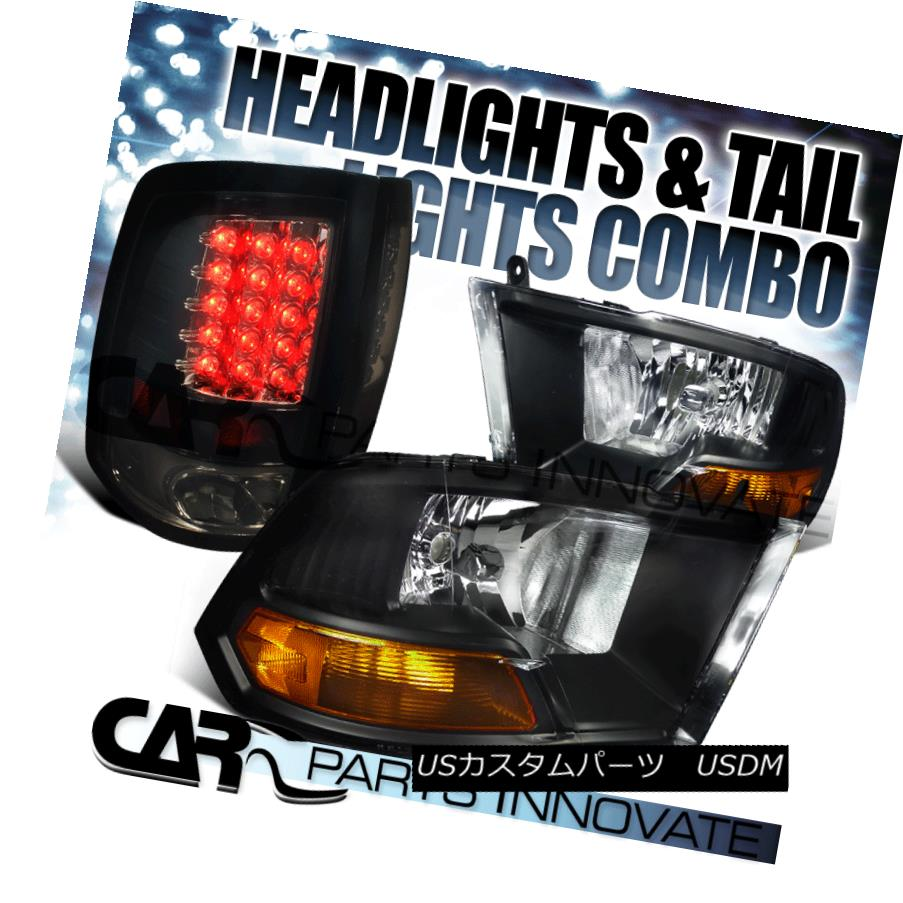 ヘッドライト 09-17 Ram 1500 2500 3500 Black Crystal Headlights+Glossy Black LED Tail Lamps 09-17ラム1500 2500 3500ブラッククリスタルヘッドライト+グロー ssyブラックLEDテールランプ