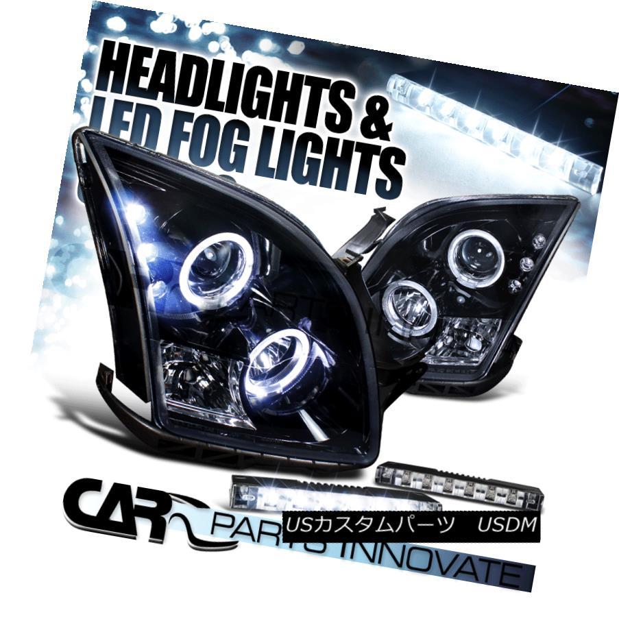 ヘッドライト Glossy Black 06-09 Fusion Dual Halo Projector Headlights+6-LED Fog Lamps 光沢のある黒06-09フュージョンデュアルハロープロジェクターヘッドライト+ 6-L  EDフォグランプ