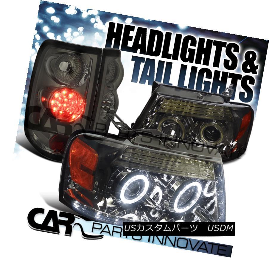 ヘッドライト 04-08 Ford F150 Smoke Dual Halo LED Strip Projector Headlight+LED Tail Lights 04-08 Ford F150スモークデュアルハローLEDストリッププロジェクターヘッドライト+ LEDテールライト