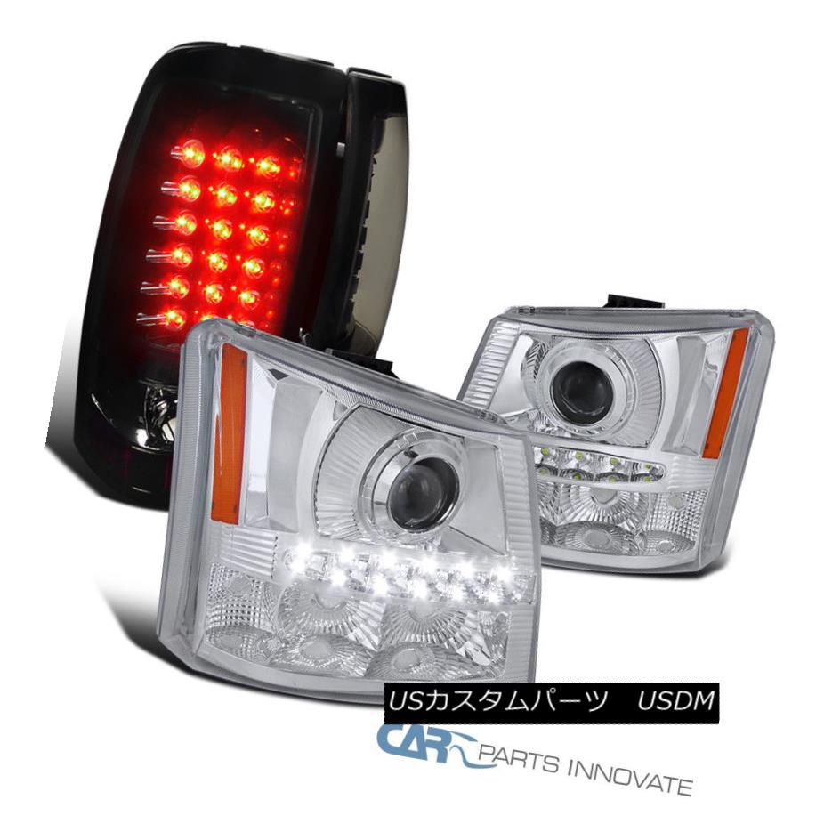 ヘッドライト 03-07 Silverado 2in1 Clear LED Projector Head Lights+Glossy Black LED Tail Lamps 03-07 Silverado 2in1クリアLEDプロジェクターヘッドライト+光沢のある黒色LEDテールランプ