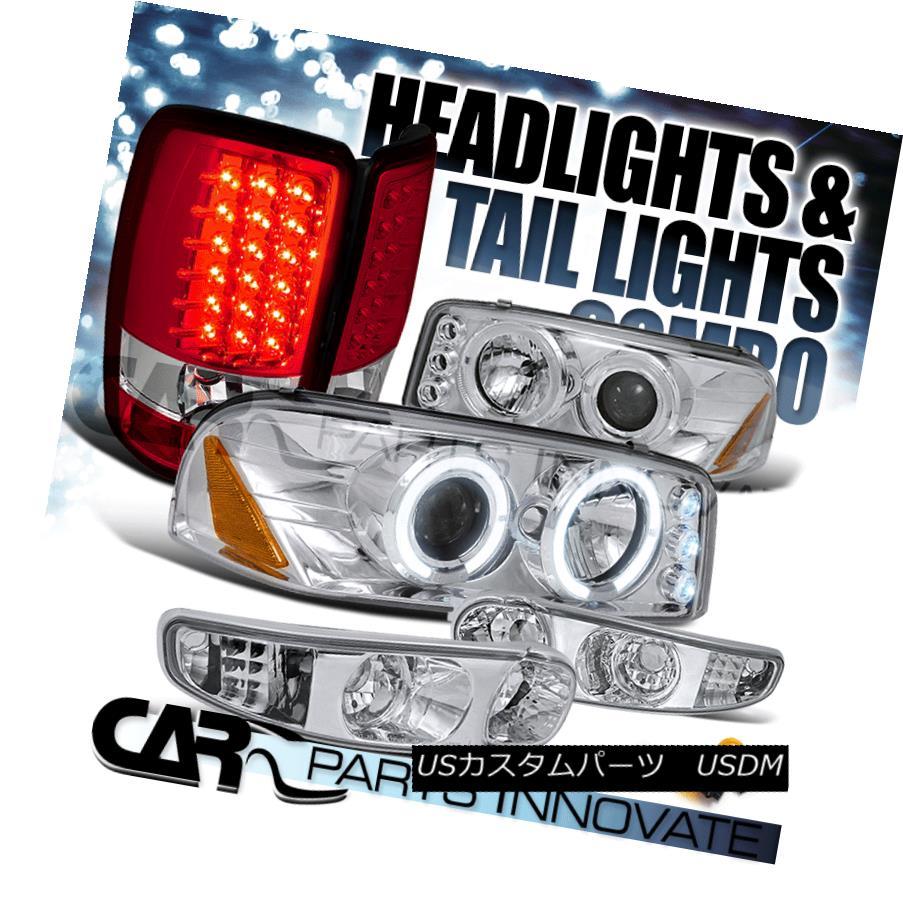 ヘッドライト 01-06 Yukon Denali Chrome Halo Projector Head Bumper Lights+Red LED Tail Lamp 01-06ユーコンデナリクロームハロープロジェクターヘッドバンパーライト+レッドLEDテールランプ