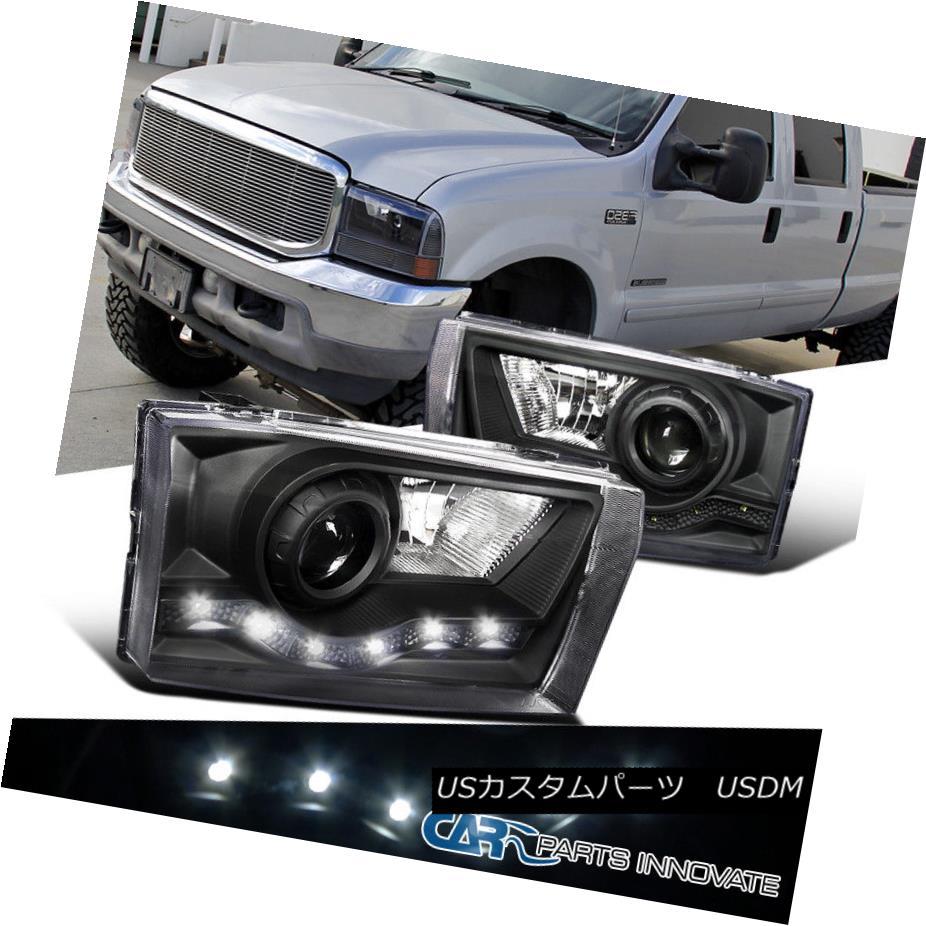 ヘッドライト 99-04 F250 F350 F450 F550 00-04 Excursion Black SMD LED DRL Projector Headlights 99-04 F250 F350 F450 F550 00-04エクスカーションブラックSMD LED DRLプロジェクターヘッドライト