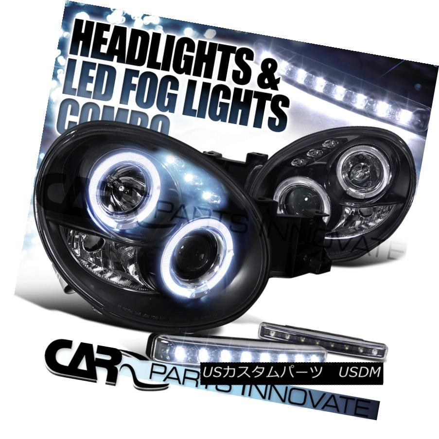 ヘッドライト For 02-03 Subaru Impreza Black Halo Projector Headlights+8-LED Fog Bumper Lamp 02-03スバルインプレッサブラックハロープロジェクターヘッドライト+ 8-L  ED Fogバンパーランプ