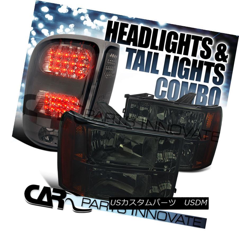 ヘッドライト 07-13 GMC Sierra Amber Smoke Replacement Headlights+Tinted LED Tail Lamp 07-13 GMC Sierraアンバー煙の交換ヘッドライト+錫 テッドLEDテールランプ