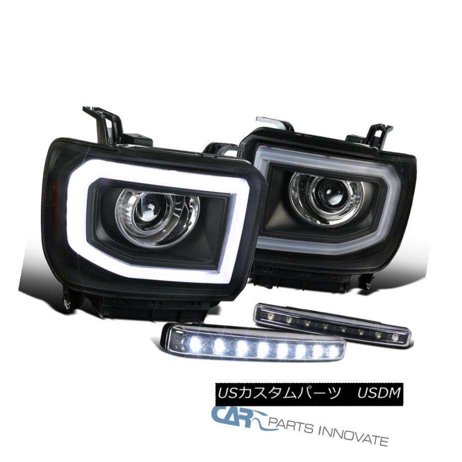 ヘッドライト 14-16 Sierra LED DRL+Signal Strip Black Projector Headlights+8-LED Fog Lights 14-16 Sierra LED DRL +信号ストリップ黒プロジェクターヘッドライト+ 8-L  EDフォグライト