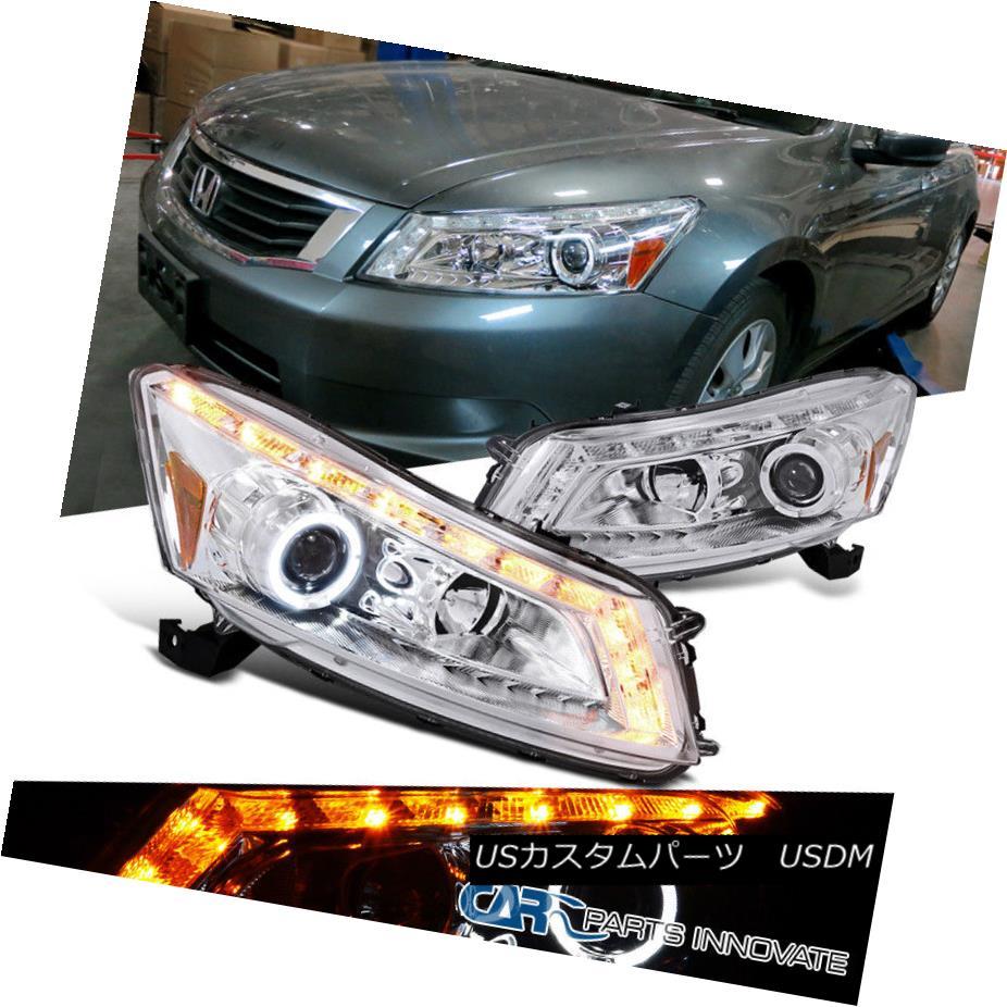 ヘッドライト Fit Honda 08-12 Accord 4Dr Sedan Clear LED DRL&Signal Projector Headlights Lamps Fond Honda 08-12アコード4DrセダンクリアLED DRL&シグナルプロジェクターヘッドライトランプ