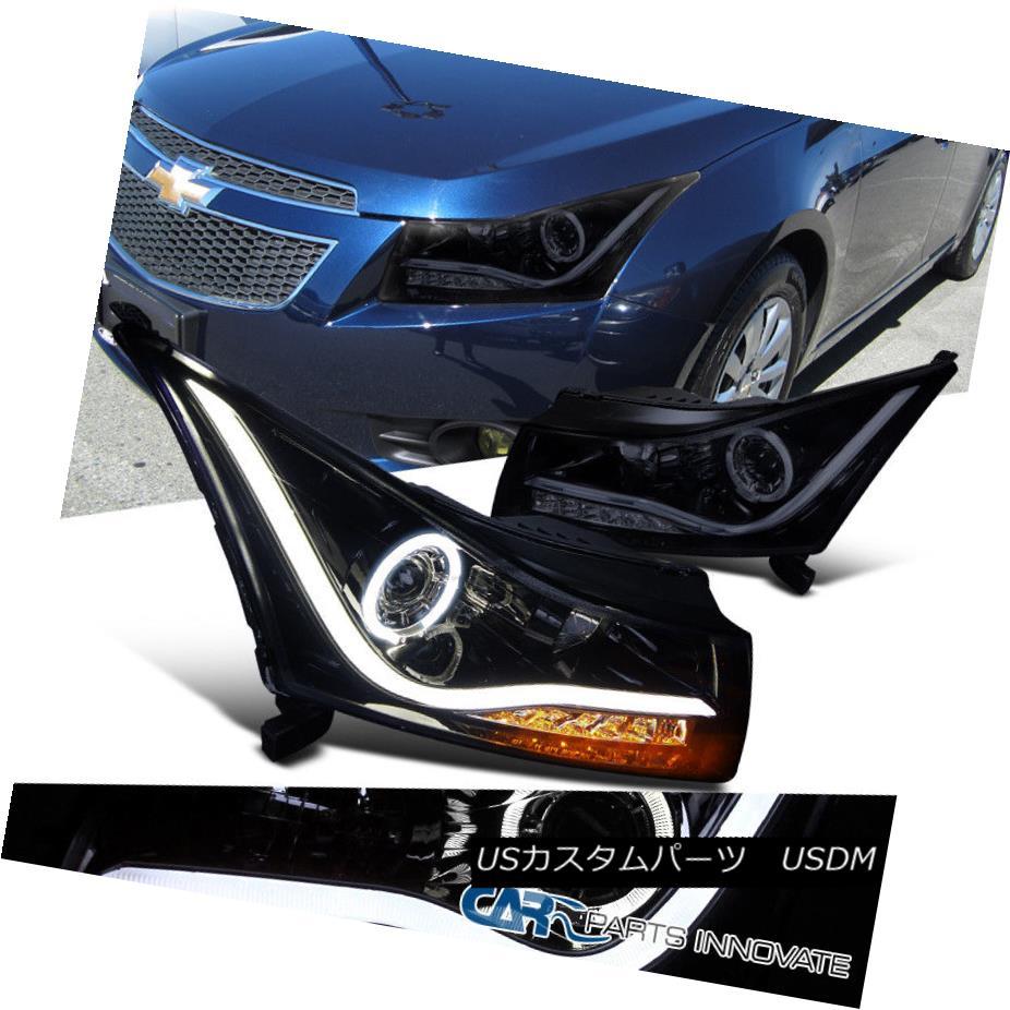 ヘッドライト Glossy Piano Black 11-14 Cruze Halo Projector Headlights Lamps+LED DRL & Signal 光沢のあるピアノブラック11-14 Cruze Haloプロジェクターヘッドライトランプ+ LED DRL& 信号