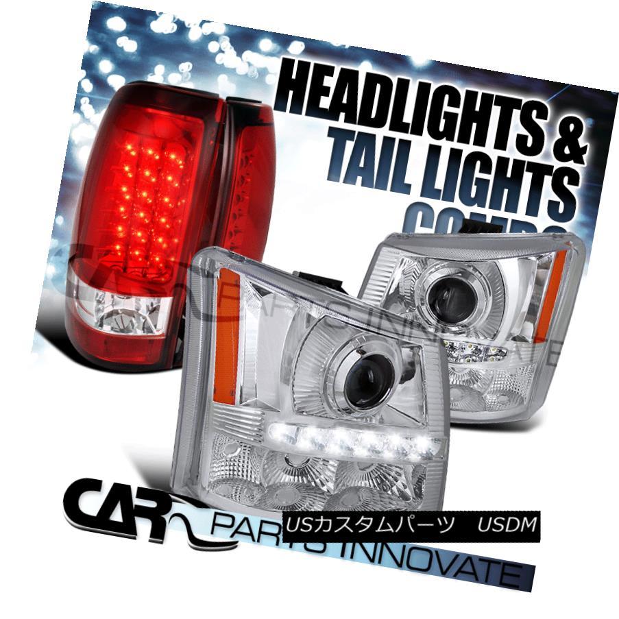 ヘッドライト 03-06 Silverado 2in1 Chrome SMD LED Projector Headlights+Red LED Tail Lamps 03-06 Silverado 2in1 Chrome SMD LEDプロジェクターヘッドライト+レッドLEDテールランプ