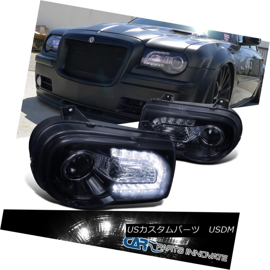 ヘッドライト Glossy Black Chrysler 05-10 300C Tinted LED DRL Projector Headlights Head Lamps 光沢のあるブラッククライスラー05-10 300C有色LED DRLプロジェクターヘッドライトヘッドランプ