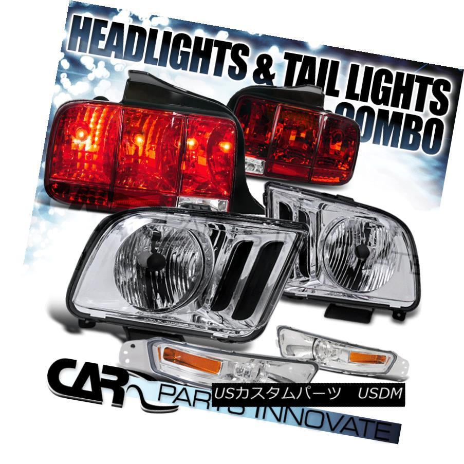ヘッドライト 05-09 Ford Mustang Replacement Clear Headlights+Bumper Lamps+Red Tail Lights 05-09 Ford Mustang交換用クリアヘッドライト+バーン 、ランプ+レッドテールライト