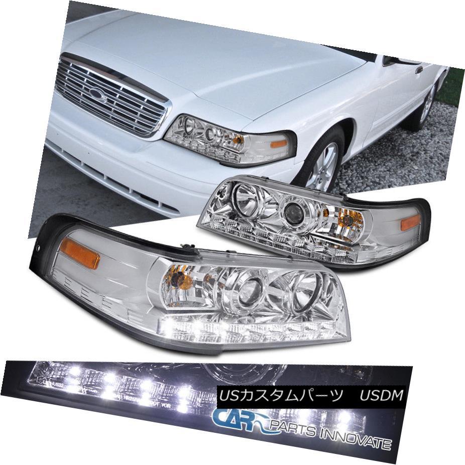 ヘッドライト 1998-2011 Ford Crown Victoria Chrome SMD LED DRL Strip Projector Headlights 1998 - 2011年フォードクラウンビクトリアクロムSMD LED DRLストリッププロジェクターヘッドライト