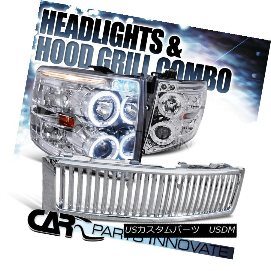ヘッドライト 07-13 Chevy Silverado 1500 Chrome Halo LED Projector Headlights+Vertical Grille 07-13 Chevy Silverado 1500 Chrome Halo LEDプロジェクターヘッドライト+ Ver  tical Grille