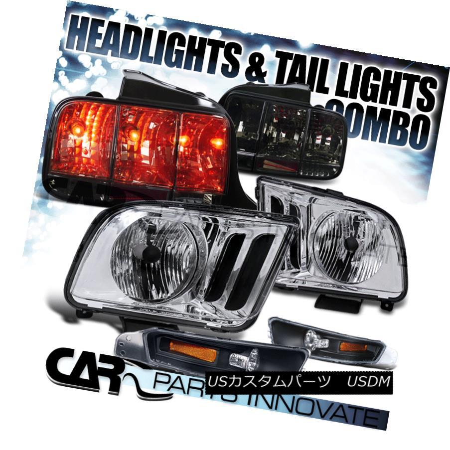 ヘッドライト 05-09 Ford Mustang Clear Headlights+Black Bumper Lamps+Smoke Tail Brake Lights 05-09 Ford Mustangクリアヘッドライト+ Bla  ckバンパーランプ+スモークテールブレーキライト