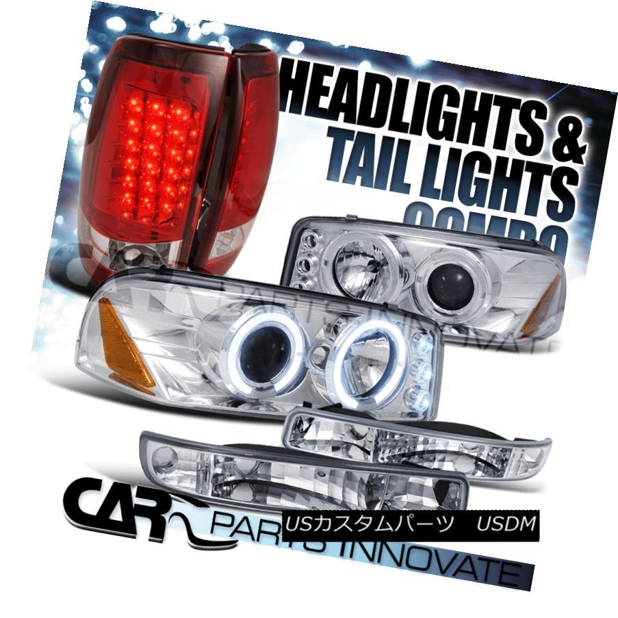 ヘッドライト 99-03 GMC Sierra Fleetside Chrome Projector Head Bumper Lights+Red LED Tail Lamp 99-03 GMCシエラフリートサイドクロームプロジェクターヘッドバンパーライト+レッドLEDテールランプ